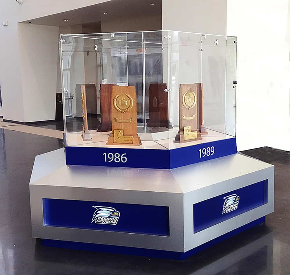 Georgia Southern glass display